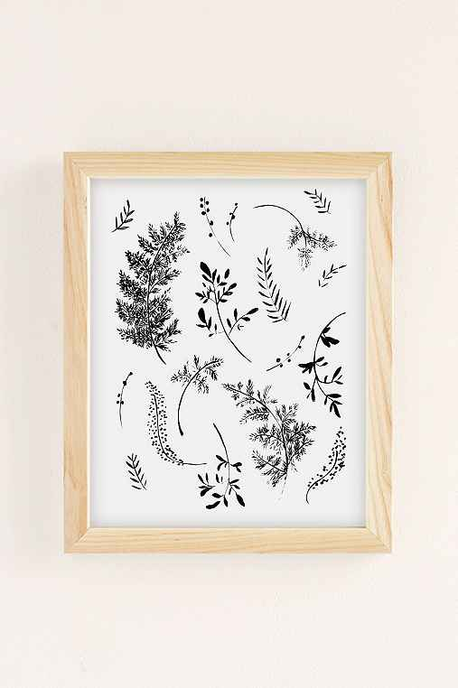 Shannon Kirsten Ferns Art Print,NATURAL WOOD FRAME,30X40