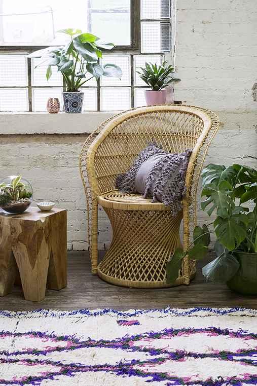Carlie Rattan Chair,BROWN,ONE SIZE