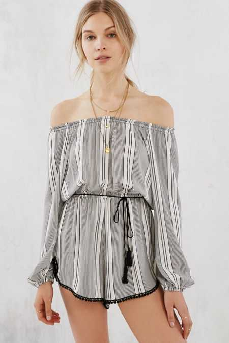 Ecote Stripe Off-The-Shoulder Romper