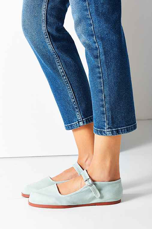 Cotton Mary Jane Flat,TEAL,7