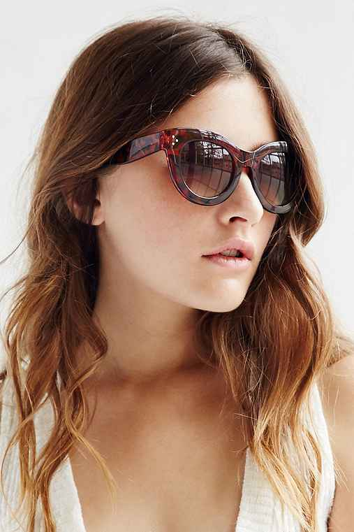 Alice Chunky Cat-Eye Sunglasses,BROWN,ONE SIZE