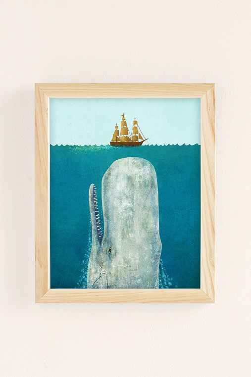 Terry Fan The Whale Art Print,NATURAL WOOD FRAME,8X10