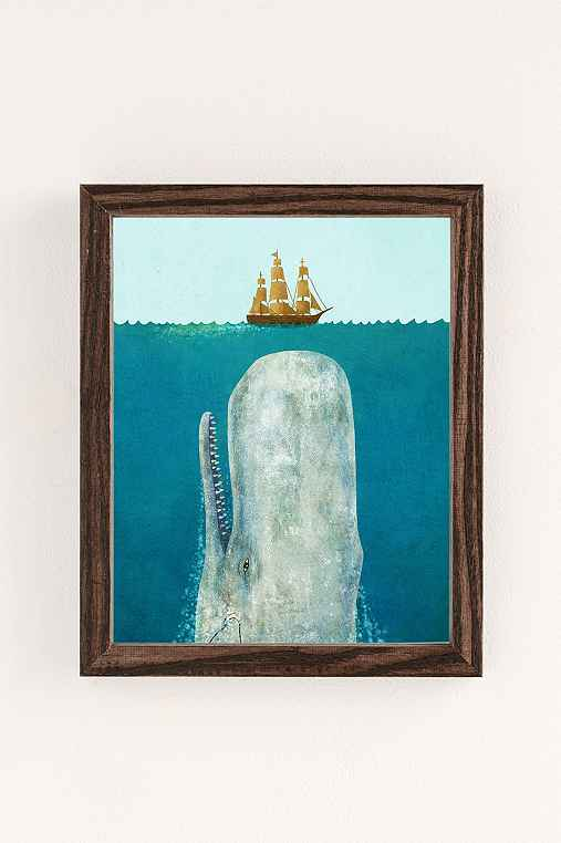 Terry Fan The Whale Art Print,WALNUT WOOD FRAME,13X19