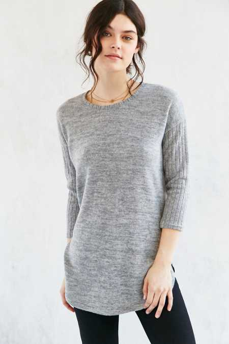 Out From Under Ribbed Sleeve Cozy Pullover Tunic Top