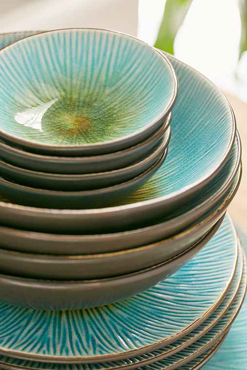 16-Piece Shangri-La Dinnerware Set,TURQUOISE,ONE SIZE