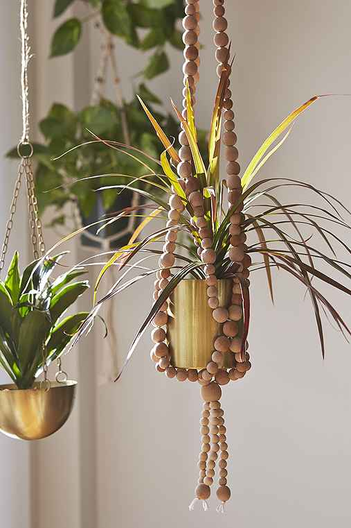 Sienna Beaded Hanging Planter,TAN,ONE SIZE