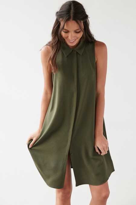 Silence + Noise Sleeveless Crepe Shirtdress