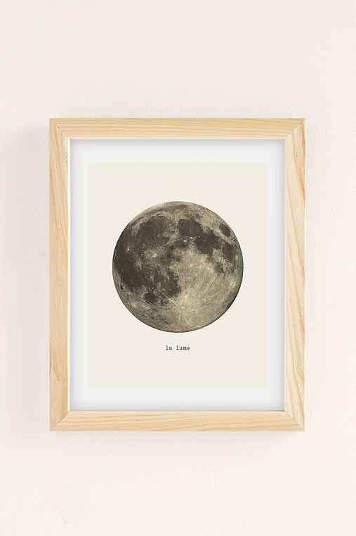 Merci Merci La Lune Art Print,NATURAL WOOD FRAME,8X10