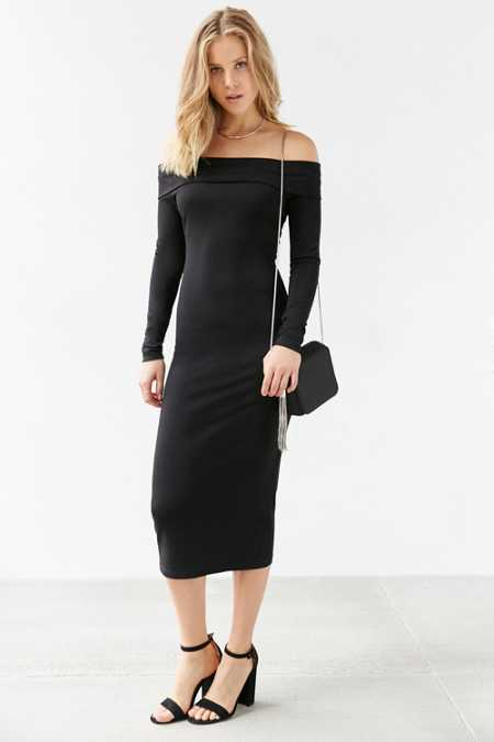 Silence + Noise Off-The-Shoulder Long-Sleeve Midi Dress