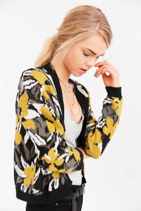 Silence + Noise Floral Jacquard Cardigan
