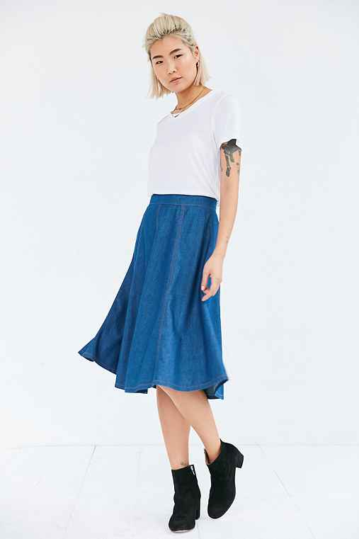 BDG Chambray Seamed Midi Skirt,LIGHT BLUE,8