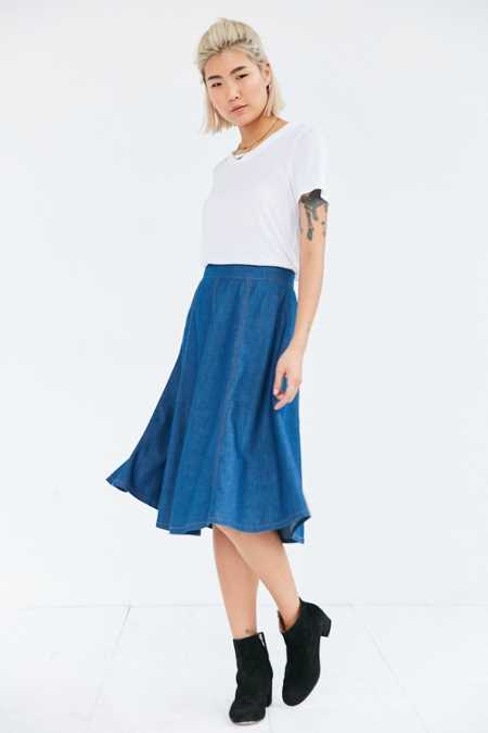 BDG Chambray Seamed Midi Skirt