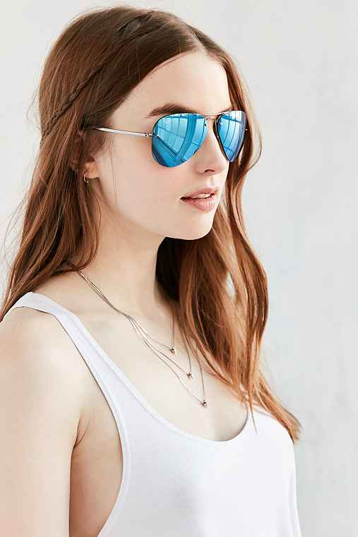 Ray-Ban Rimless Aviator Sunglasses,BLUE,ONE SIZE