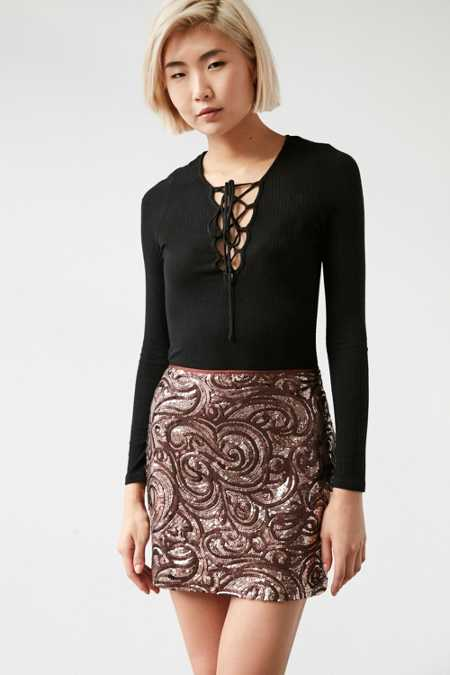 Silence + Noise Sequin Mini Skirt
