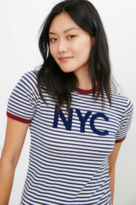 Truly Madly Deeply NYC Striped Ringer Tee