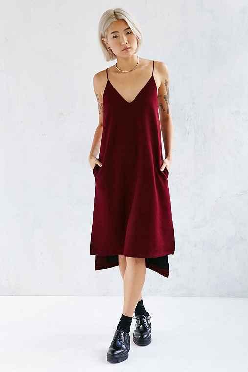 Martel Cozy Slip Dress,MAROON,S