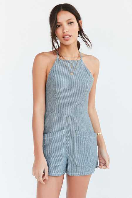 BDG Chambray High-Neck Romper