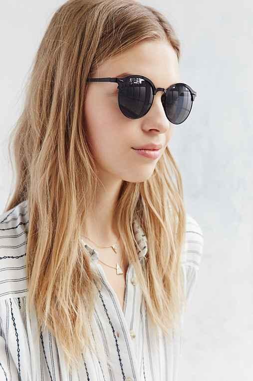 Oakland Metal Half-Frame Sunglasses,BLACK,ONE SIZE