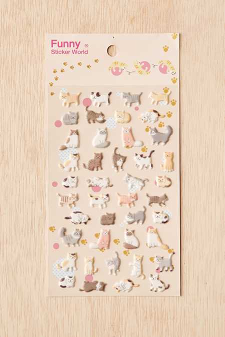 Cat Puffy Stickers Set