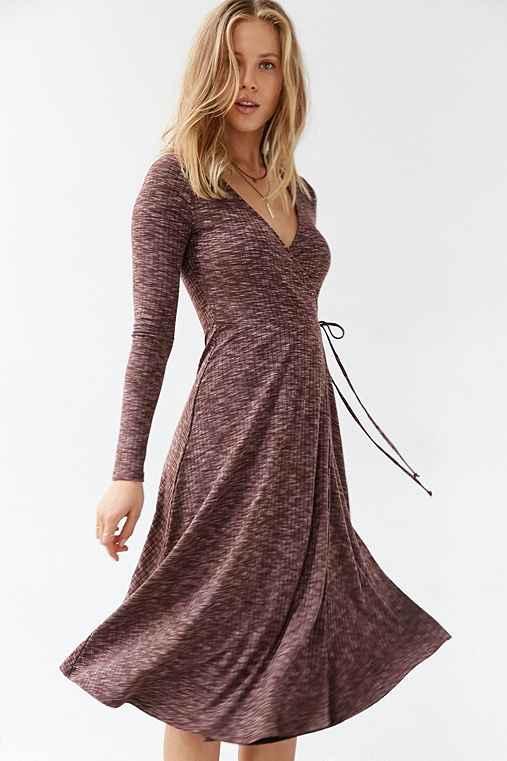 Kimchi Blue Ribbed Wrap Midi Dress,BROWN,XS