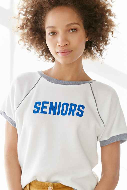 Camp Collection Seniors Ringer Sweatshirt,WHITE,XS