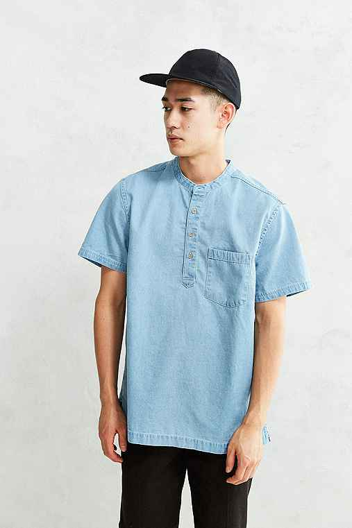 CPO Denim Short-Sleeve Popover Shirt,LIGHT BLUE,S
