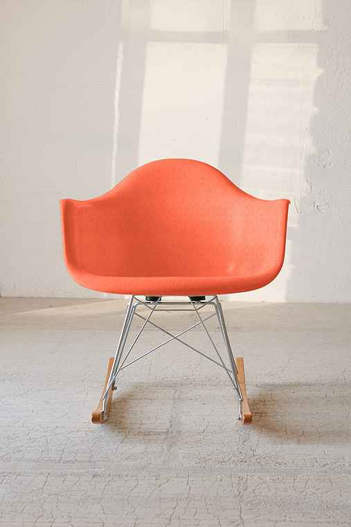 Modernica Fiberglass Arm Shell Rocking Chair,ORANGE,ONE SIZE