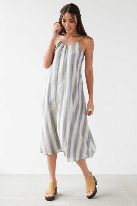 Ecote Yarn Dye Tunneled Strap Midi Dress