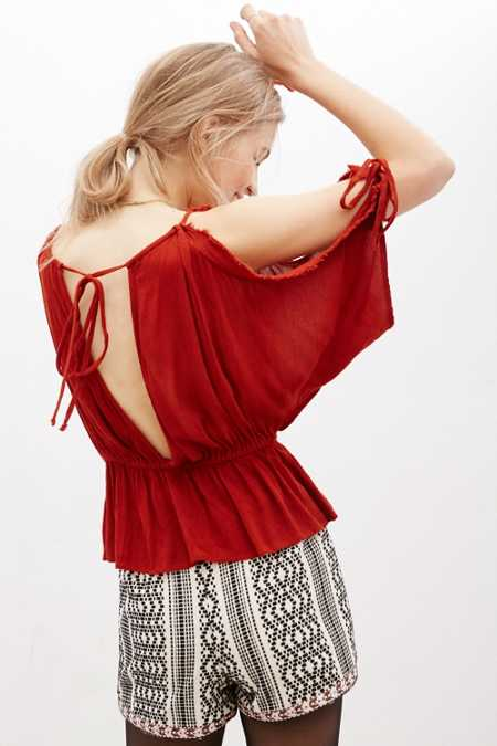 Ecote Gauzy Raw Edge Cold Shoulder Top