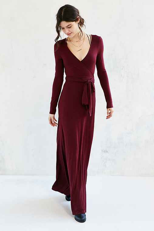 Ecote Exaggerated Wrap Knit Maxi Dress,MAROON,M