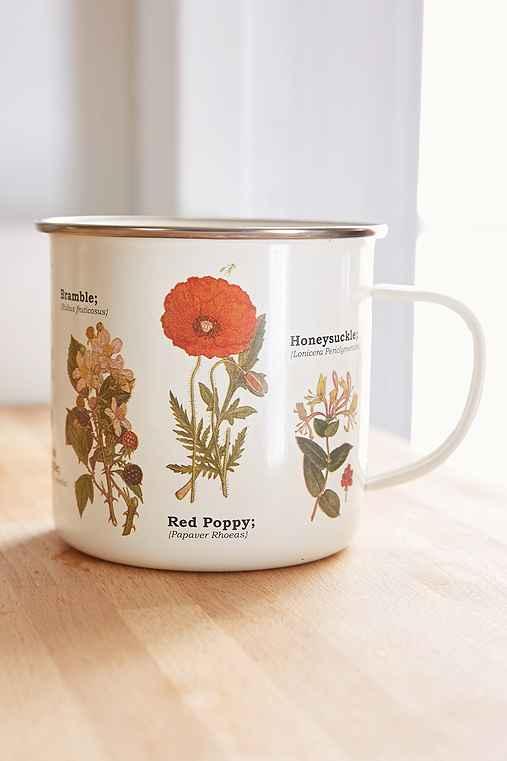 Enamelware Botanical Mug,BEIGE,ONE SIZE