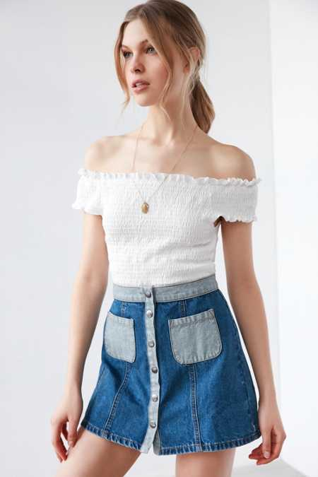 BDG Colorblock Denim A-Line Mini Skirt