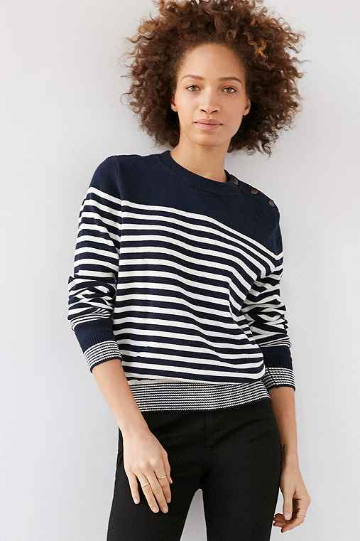 BDG Lucky Day Striped Crew-Neck Sweater,BLUE MULTI,XS