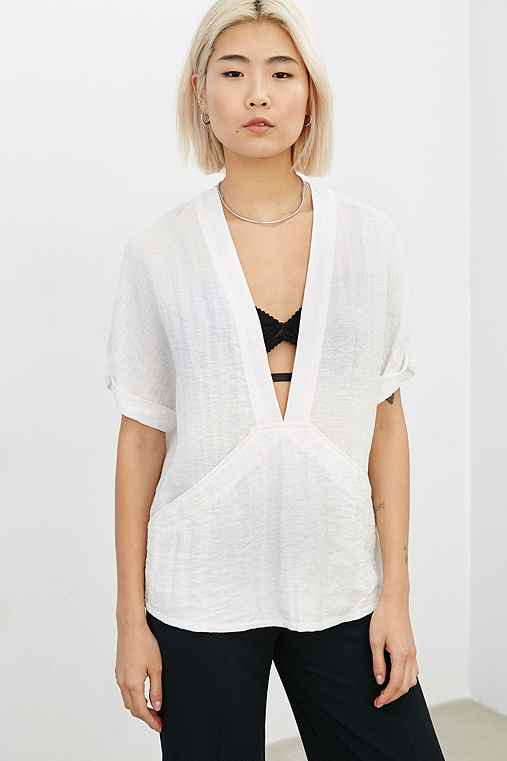 Silence + Noise Carson Plunge-Front Tee,CREAM,L
