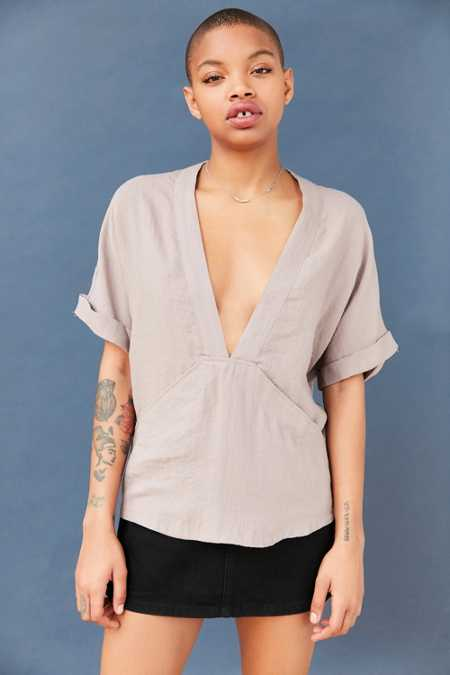 Silence + Noise Carson Plunge-Front Tee