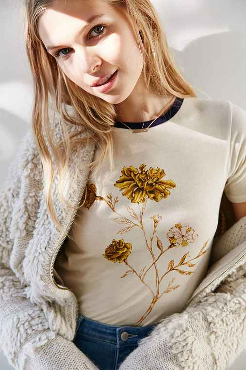 Truly Madly Deeply Marigold Shrunken Ringer Tee,IVORY,L