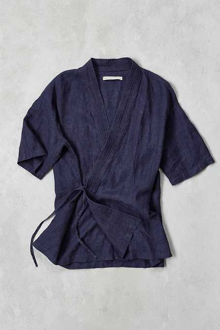 Shades Of Grey By Micah Cohen Side Tie Kimono Shirt