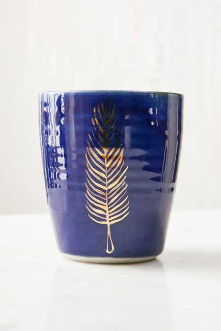Pickle Pottery Blue Feather Tumbler