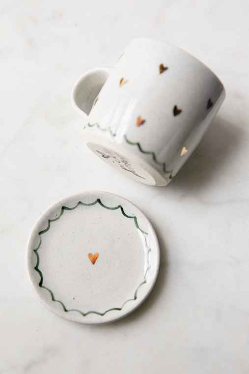 Pickle Pottery Tea Cup And Saucer,CREAM,ONE SIZE