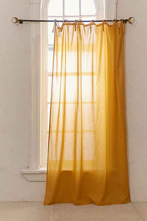 Swiss Dot Curtain,MUSTARD,52X84