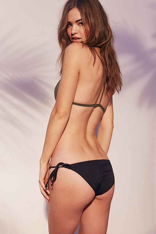 Out From Under Solid Side-Tie Ruched Bikini Bottom,BLACK,M