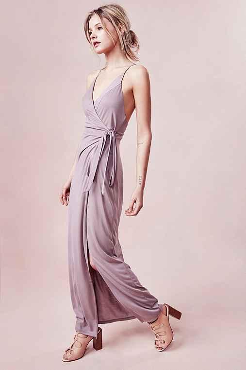 Silence + Noise Rock Ridge Wrap Maxi Dress,TAUPE,M