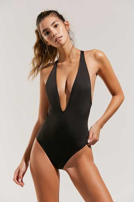 Out From Under Plunging V Solid One-Piece Swimsuit