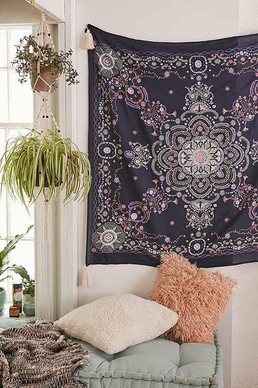 Plum & Bow Seren Lace Medallion Tapestry,NAVY,ONE SIZE