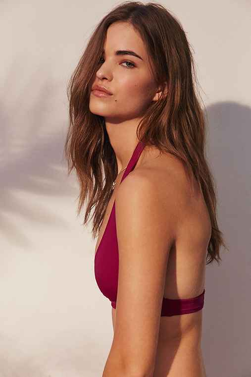 Out From Under Solid Halter Bikini Top,BERRY,L