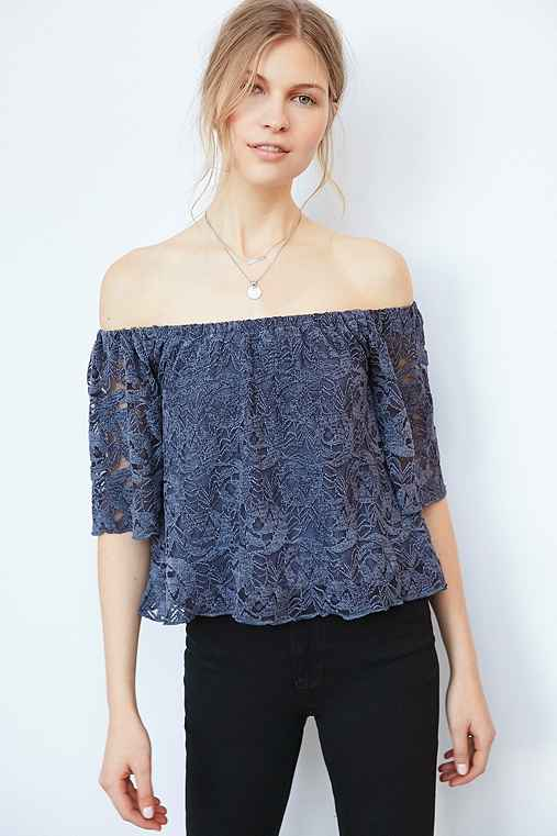 Ecote Utopia Lace Off-The-Shoulder Top,BLUE,S