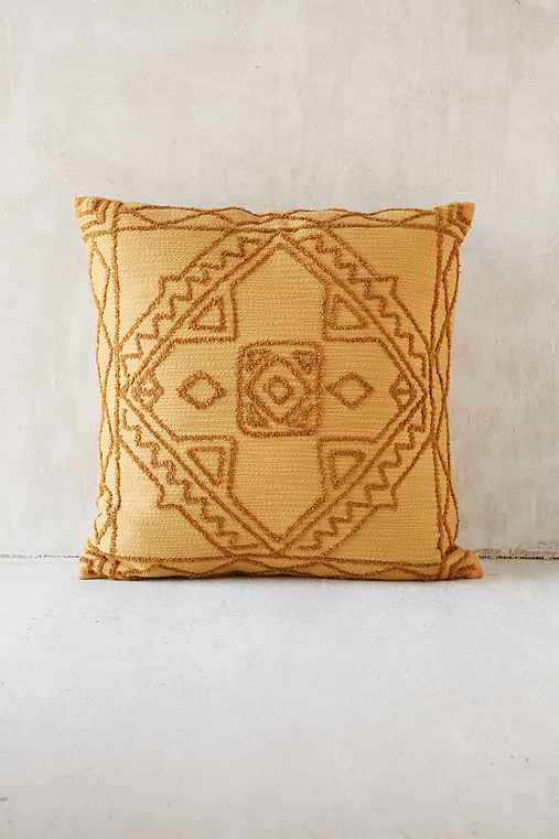 Magical Thinking Roya Crewel Tonal Pillow,MUSTARD,18
