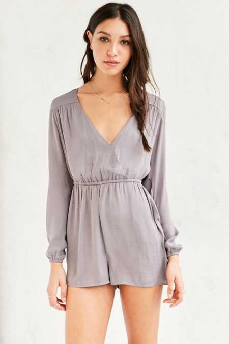Alice & UO Demy Long-Sleeve Satin Romper