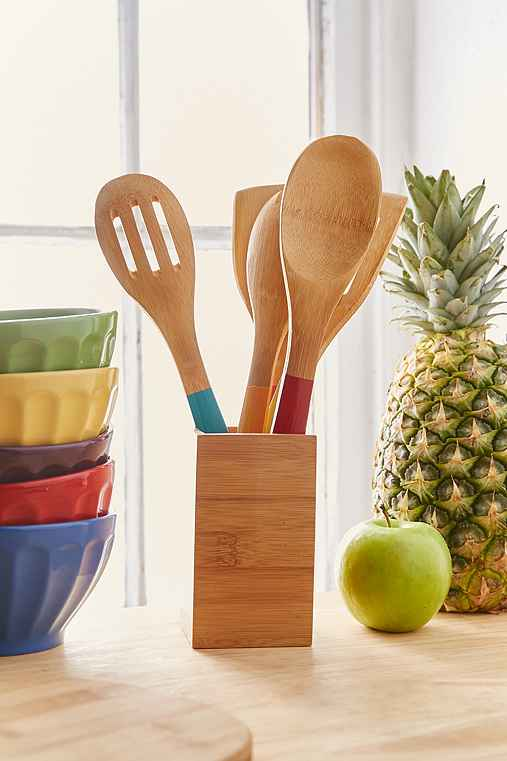 Bamboo Caddy And Utensil Set,ASSORTED,ONE SIZE