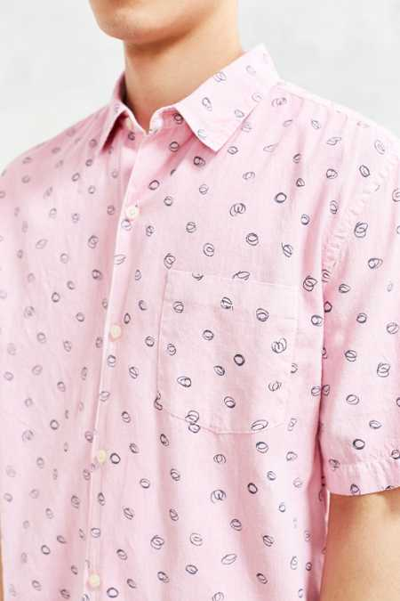 CPO Scribble Circle Short-Sleeve Button-Down Shirt